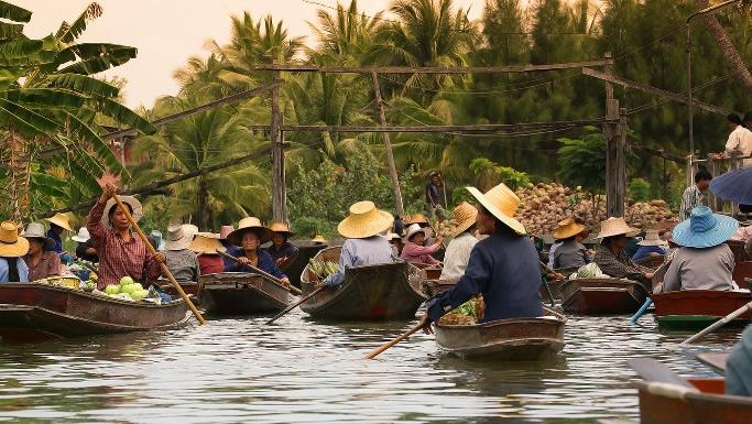 Zentralthailand Schwimmender Markt von Damnoen Saduak